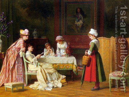 A Letter of Recommendation by Charles Baugniet - Reproduction Oil Painting