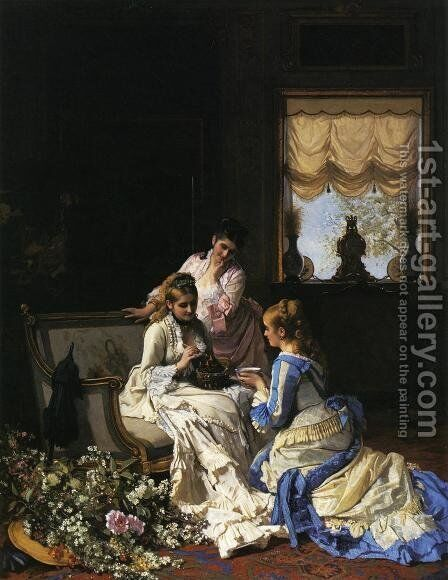 Spring's New Arrivals by Charles Baugniet - Reproduction Oil Painting