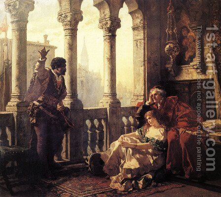 Othello Relating His Adventures to Desdemona by Carl Ludwig Friedrich Becker - Reproduction Oil Painting