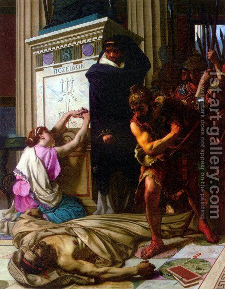 The Death of Demosthenes by Camille Felix Bellanger - Reproduction Oil Painting