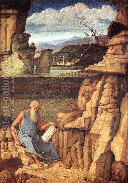St. Jerome Reading in the Countryside by Giovanni Bellini - Reproduction Oil Painting
