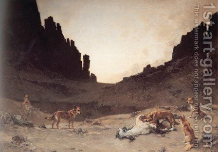 Dogs of the Douar Devouring a Dead Hourse in the Gorges of El Kantar by Gustave Achille Guillaumet - Reproduction Oil Painting