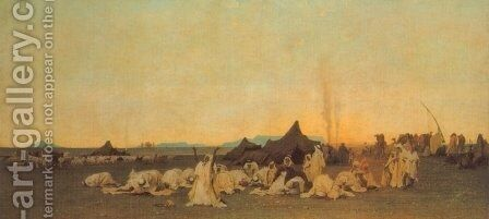 Evening Prayer in the Sahara by Gustave Achille Guillaumet - Reproduction Oil Painting