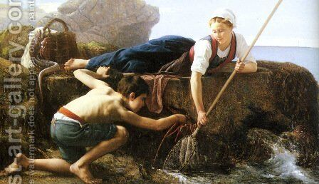 Pecheuses de Crevettes by Alfred Guillou - Reproduction Oil Painting