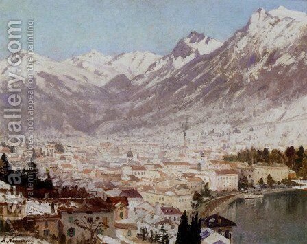 A View Of Como by Adelsteen Normann - Reproduction Oil Painting