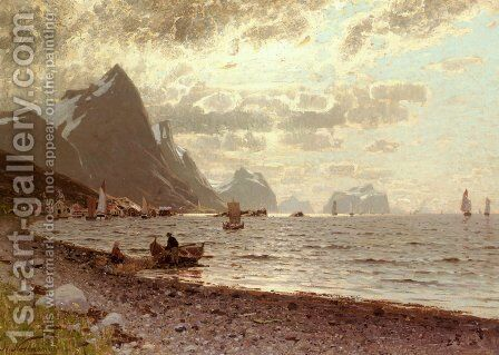 The Norwegian Fjord by Adelsteen Normann - Reproduction Oil Painting