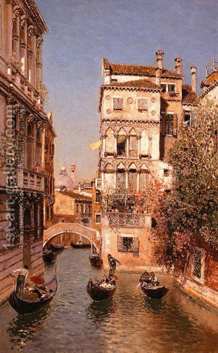 Along The Canal, Venice by Martin Rico y Ortega - Reproduction Oil Painting