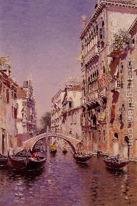 The Sunny Canal by Martin Rico y Ortega - Reproduction Oil Painting