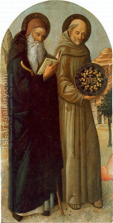 Saint Anthony Abbot and Saint Bernardino of Siena by Jacopo Bellini - Reproduction Oil Painting