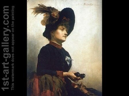 Portrait of a Lady with Opera Glasses by Anna Bilinska-Bohdanowiczowa - Reproduction Oil Painting