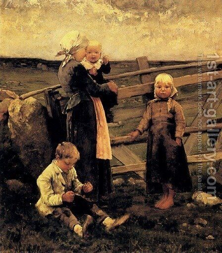 Children With Cherries by Bernardus Johannes Blommers - Reproduction Oil Painting