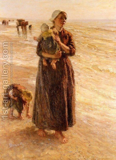 On The Beach by Bernardus Johannes Blommers - Reproduction Oil Painting