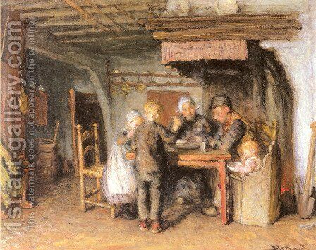 The Family Meal by Bernardus Johannes Blommers - Reproduction Oil Painting