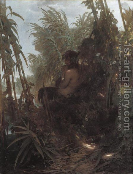Pan im Schilf (Pan in the Reeds) by Arnold Böcklin - Reproduction Oil Painting