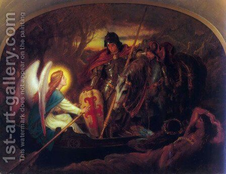 How an Angel rowed Sir Galahad across the Dern Mere by Sir Joseph Noel Paton - Reproduction Oil Painting