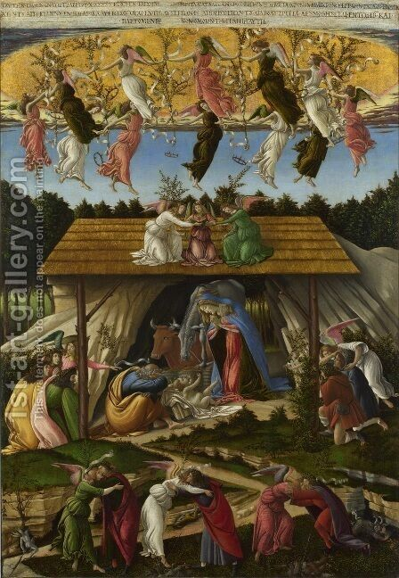Mystic Nativity by Sandro Botticelli (Alessandro Filipepi) - Reproduction Oil Painting
