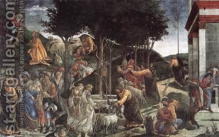 Scenes from the Life of Moses by Sandro Botticelli (Alessandro Filipepi) - Reproduction Oil Painting