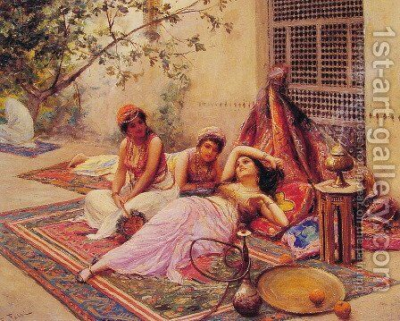 The Open Market by Auguste Bouchet - Reproduction Oil Painting