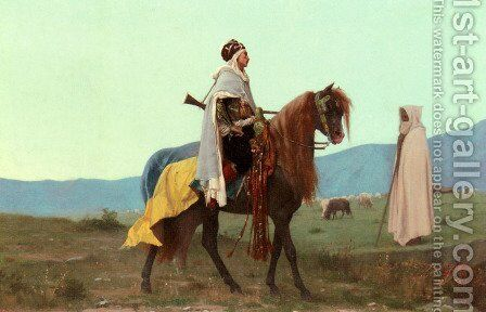 An Arab Horseman by Gustave Clarence Rodolphe Boulanger - Reproduction Oil Painting