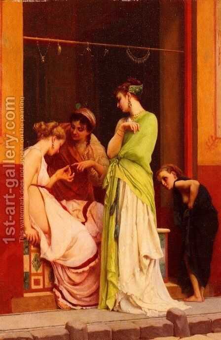 Une Marchande De Bijoux A Pompeii (A Seller of Jewels in Pompeii) by Gustave Clarence Rodolphe Boulanger - Reproduction Oil Painting