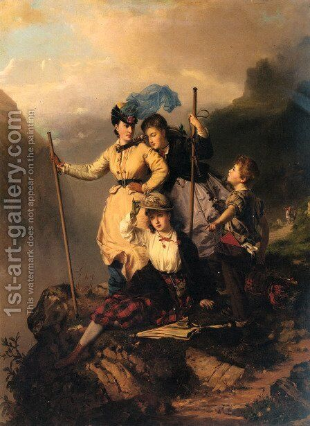 Mountain Climbers by Charles Edouard Boutibonne - Reproduction Oil Painting
