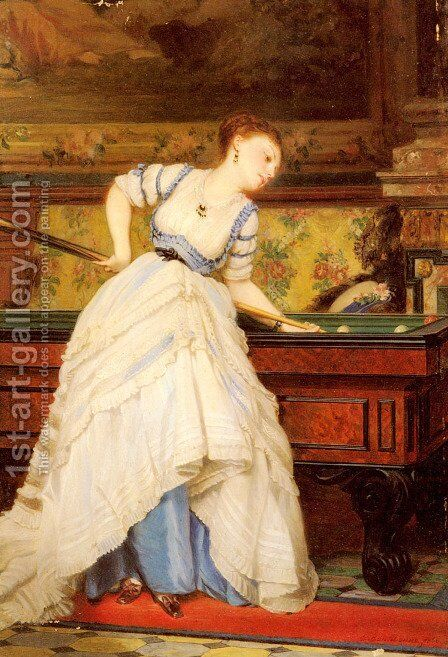 An Elegant Billiard Player by Charles Edouard Boutibonne - Reproduction Oil Painting