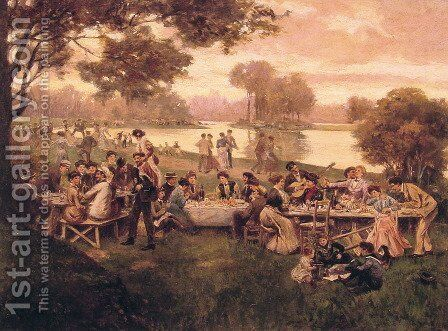 Luncheon on the grass by Carlo Brancaccio - Reproduction Oil Painting
