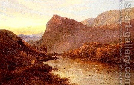 Sunset In The Glen by Alfred de Breanski - Reproduction Oil Painting