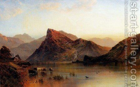 The Glydwr Mountains, Snowdon Valley, Wales by Alfred de Breanski - Reproduction Oil Painting
