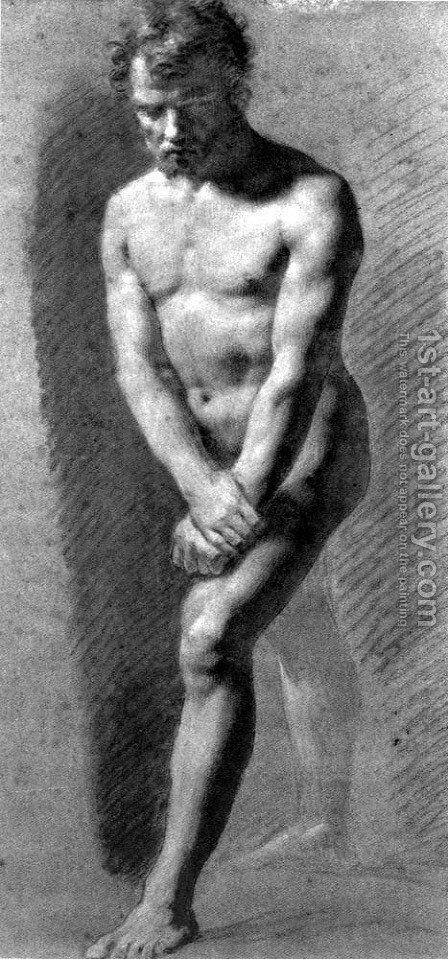 Male Nude Grasping his Wrists by Pierre-Paul Prud'hon - Reproduction Oil Painting