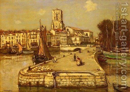 A Sunlit Port by Jean-Francois Raffaelli - Reproduction Oil Painting