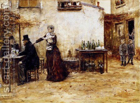Les Habitues De Cafe by Jean-Francois Raffaelli - Reproduction Oil Painting