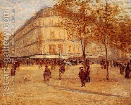 Place Du Theature Francais, Paris by Jean-Francois Raffaelli - Reproduction Oil Painting