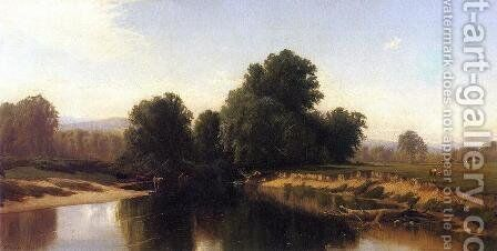 Cattle by the River by Alfred Thompson Bricher - Reproduction Oil Painting