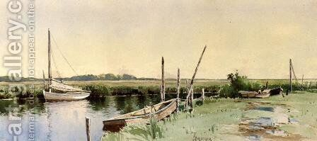 Sailboats in an Inlet by Alfred Thompson Bricher - Reproduction Oil Painting