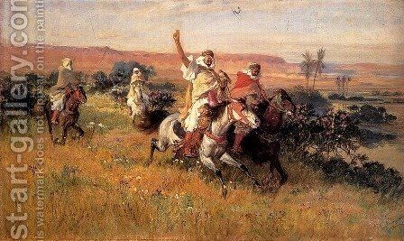 The Falcon Hunt by Frederick Arthur Bridgman - Reproduction Oil Painting