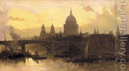 St. Pauls from the Thames, Looking West by David Roberts - Reproduction Oil Painting