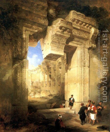 The Gateway of the Great Temple at Baalbec by David Roberts - Reproduction Oil Painting