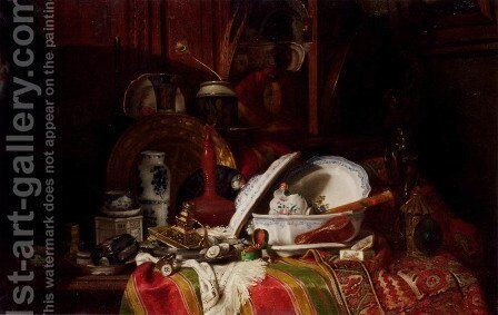 Still Life with Dishes, a Vase, a Candlestick and other Objects on a Draped Table by Gustave Jean Jacquet - Reproduction Oil Painting