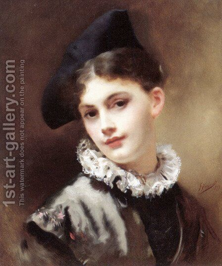 A Coquettish Smile by Gustave Jean Jacquet - Reproduction Oil Painting