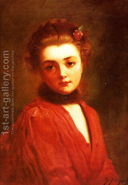 Portrait of a Girl in a Red Dress by Gustave Jean Jacquet - Reproduction Oil Painting