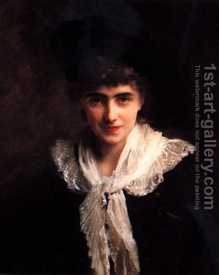 Portrait of Madame Roland by Gustave Jean Jacquet - Reproduction Oil Painting