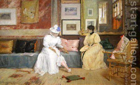 A Friendly Call by William Merritt Chase - Reproduction Oil Painting