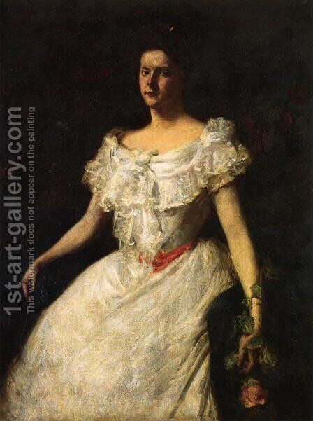 Portrait of a Lady with a Rose by William Merritt Chase - Reproduction Oil Painting