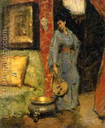 Woman in Kimono Holding a Japanese Fan by William Merritt Chase - Reproduction Oil Painting