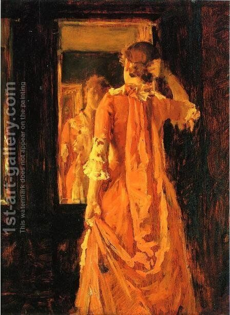 Young Woman Before a Mirror by William Merritt Chase - Reproduction Oil Painting