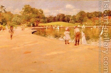 Lilliputian Boat-Lake - Central Park (or Lilliputian Boats in the Park; Central Park) by William Merritt Chase - Reproduction Oil Painting