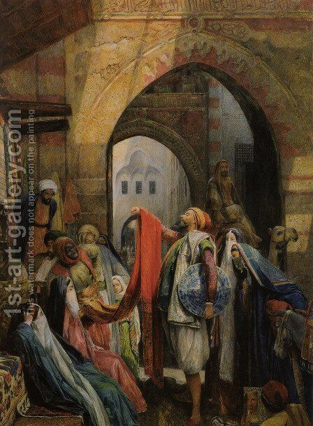 A Cairo Bazaar - The Della 'l' by John Frederick Lewis - Reproduction Oil Painting
