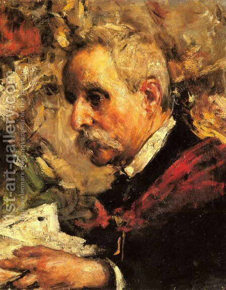 A Portrait of the Artist's Father by Antonio Mancini - Reproduction Oil Painting