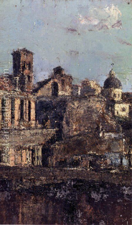 Italian Town View by Antonio Mancini - Reproduction Oil Painting